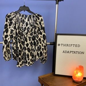 Old Navy Snow leopard button down top